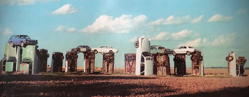 Carhenge before it was painted gray.